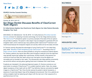 Encinitas Cosmetic Dentistry, ClearCorrect, benefits of teeth straightening with ClearCorrect, San Diego cosmetic dentist, cosmetic dentistry, Dr. Santone
