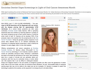 Dr. Cathy Santone, an Encinitas dentist, raises awareness for Oral Cancer Awareness Month by urging patients to undergo screenings this April.