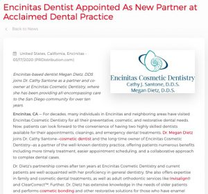 Dr. Megan Dietz Joins Dr. Cathy Santone as Partner at Encinitas Cosmetic Dentistry