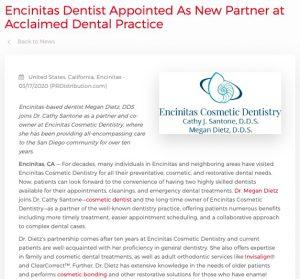Dr. Megan Dietz Joins Dr. Cathy Santone as Partner at Encinitas Cosmetic Dentistry